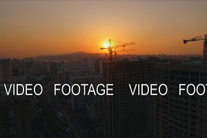 Aerial view shot of the sunset on