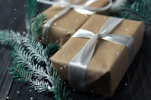 Gifts in boxes for Christmas and new