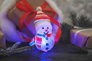 A luminous toy of the snowman on the