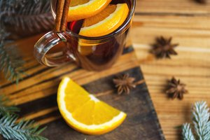 Autumn and winter seasonal mulled wi