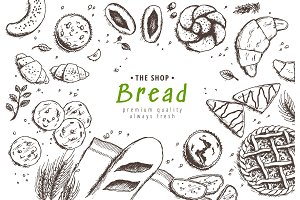 Bakery background. Linear graphic
