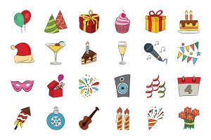 Celebration Hand Drawn Vector Icons