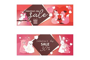 Valentines day sale banners with