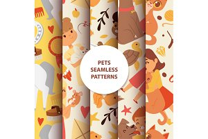 Animals seamless pattern with kids