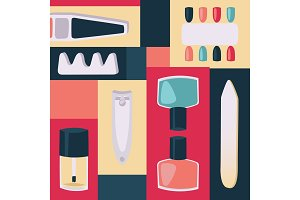 Tools for manicure vector