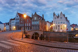 Bruges canal and bridge, Belgium