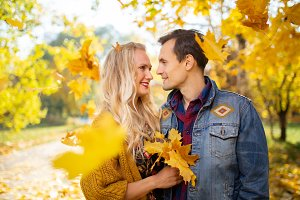 Image of couple in love at autumn