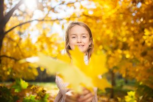Image of girl in autumn forest