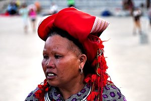 Vietnamese old lady with red hat