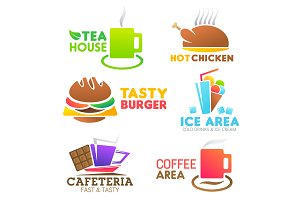 Fastfood food meals vector icons
