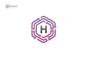 Hexa H Letter Logo