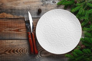 Vintage or rustic christmas table