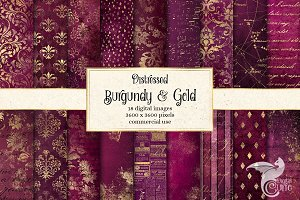 Distressed Burgundy & Gold Textures
