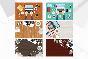 6 Office Worksplace Table Top View