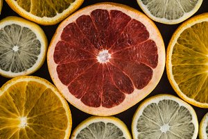 Set of citrus fruits slices on dark