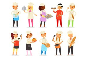 Cooking child vector children