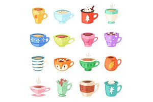 Cartoon cup vector kids mugs hot