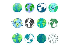 Earth planet vector global world