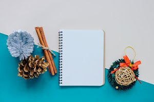 Flat lay of craft holiday background