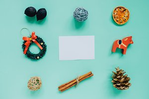 Flat lay of christmas ornaments