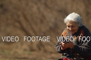 Slow motion of happy old woman