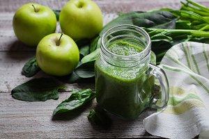 Detox concept. Spinach smoothie