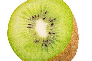 Ripe half kiwi fruit isolated on