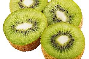 Ripe four half kiwi fruit isolated