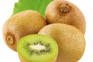 Ripe whole and half kiwi fruit