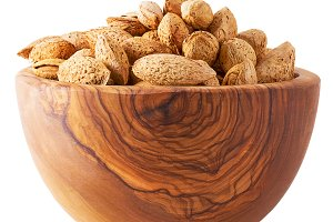 Almonds nuts with shell in bowl