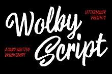 Wolby Script by  in Script Fonts