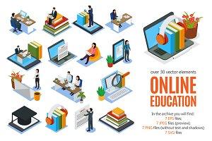 Online Education Isometric Set