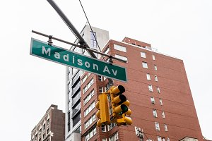 Madison Avenue road sign in New York
