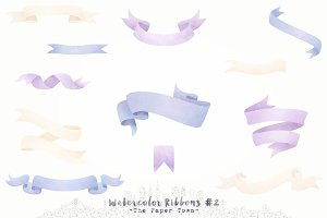 Lavender Watercolor Ribbons Cliparts