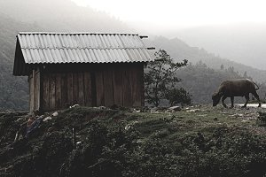 Wooden cottage in mountains
