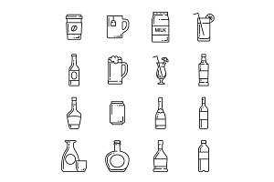 Drinks, bottles and beverage icons