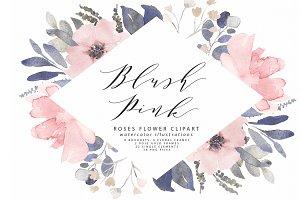 Blush roses clipart