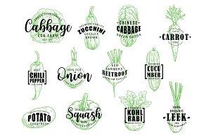 Natural vegetables, lettering