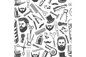 Barbershop shaving seamless pattern