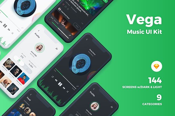 vega music ios ui kit website templates creative market