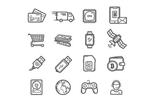 Smart technology devices, icons