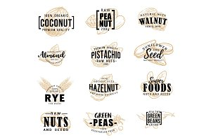 Nuts and seeds vector lettering
