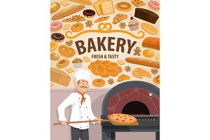 Bakery shop cakes, baker with pizza