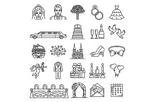 Wedding and marriage vector icons
