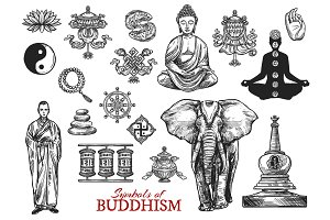 Buddhism religion sketch icons