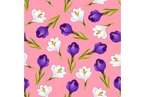 Crocus flowers seamless pattern