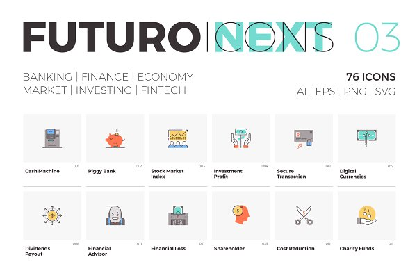 Icons: Bloomicon - Futuro Next Icons / Finance Pack