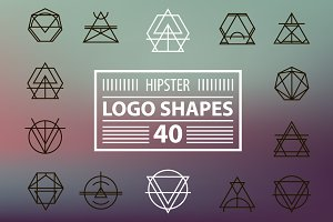 Hipster logo shapes set of 40