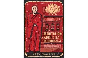Buddhism monk, prayer wheels