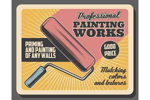 Painting works, paint roller